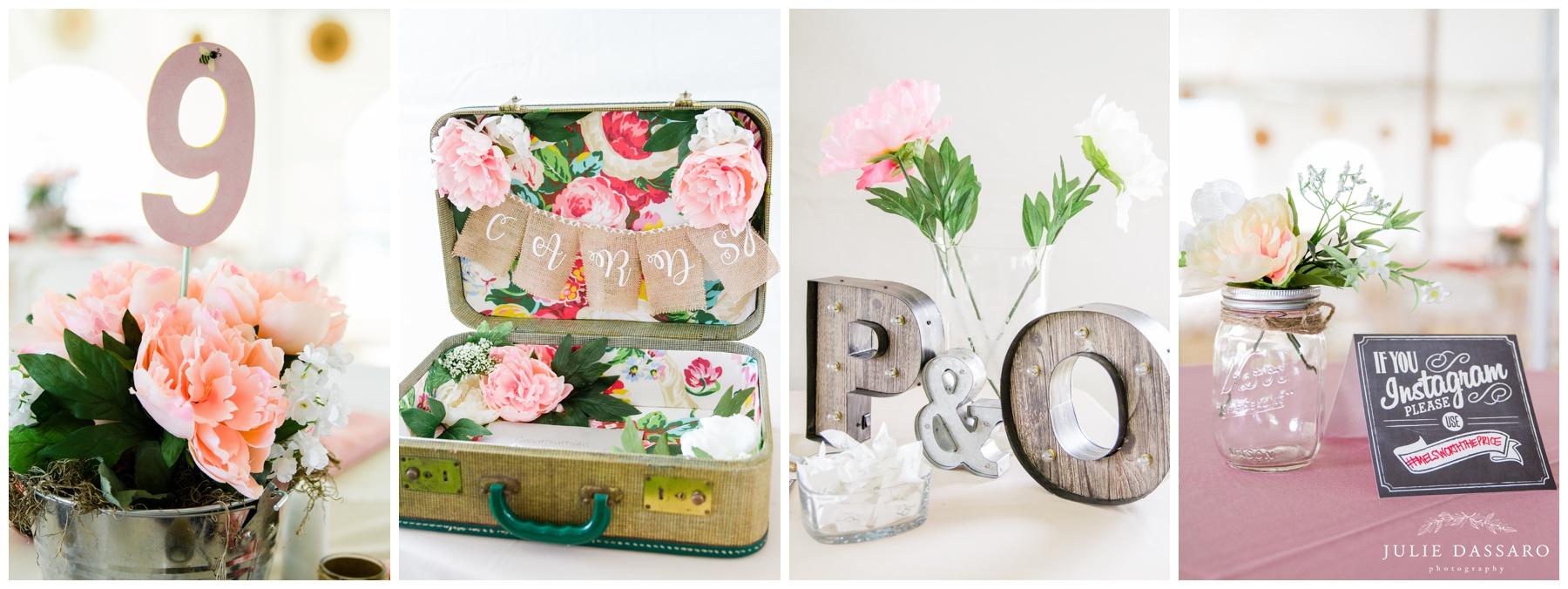 pretty wedding details in pink floral