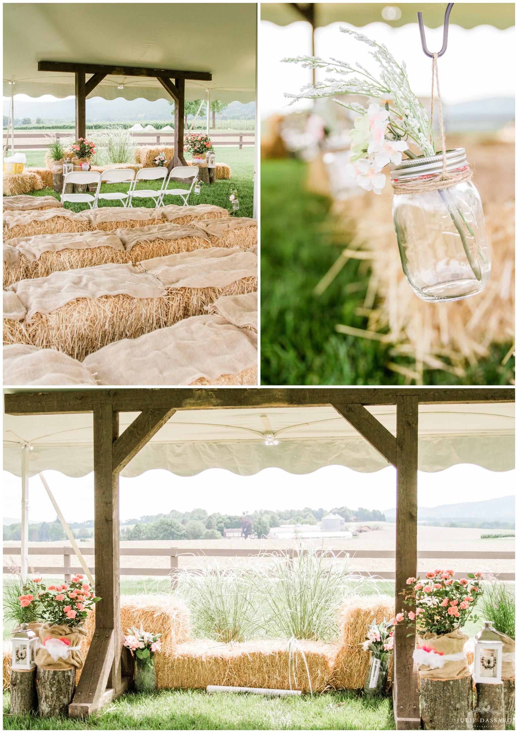 outdoor wedding ceremony hay bale seats