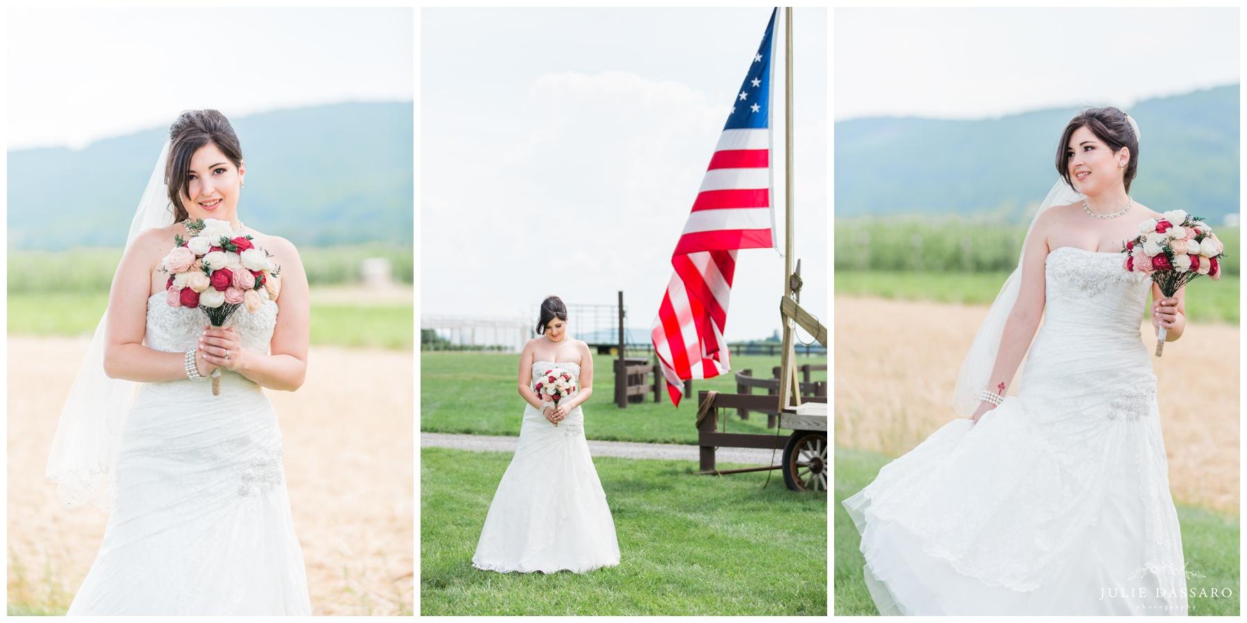 patriotic bride next to american flag