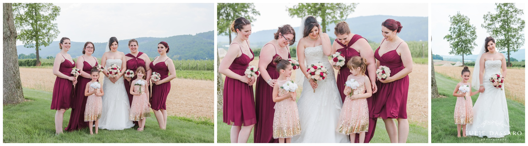bridesmaids in cranberry dresses