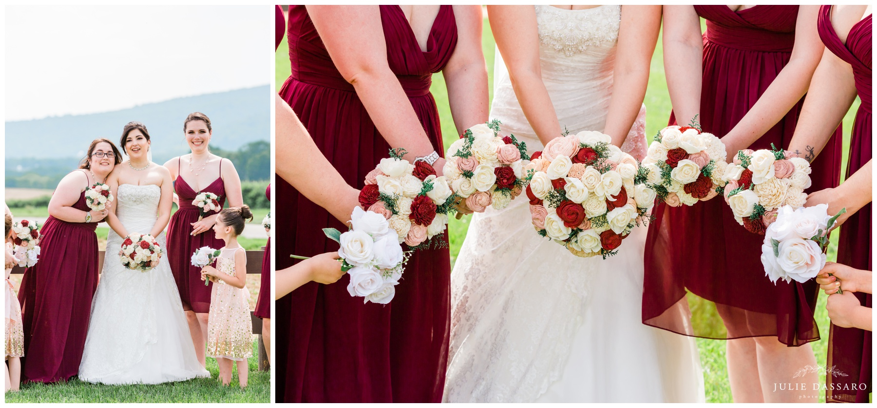 cranberry red white and pink wedding bouquets