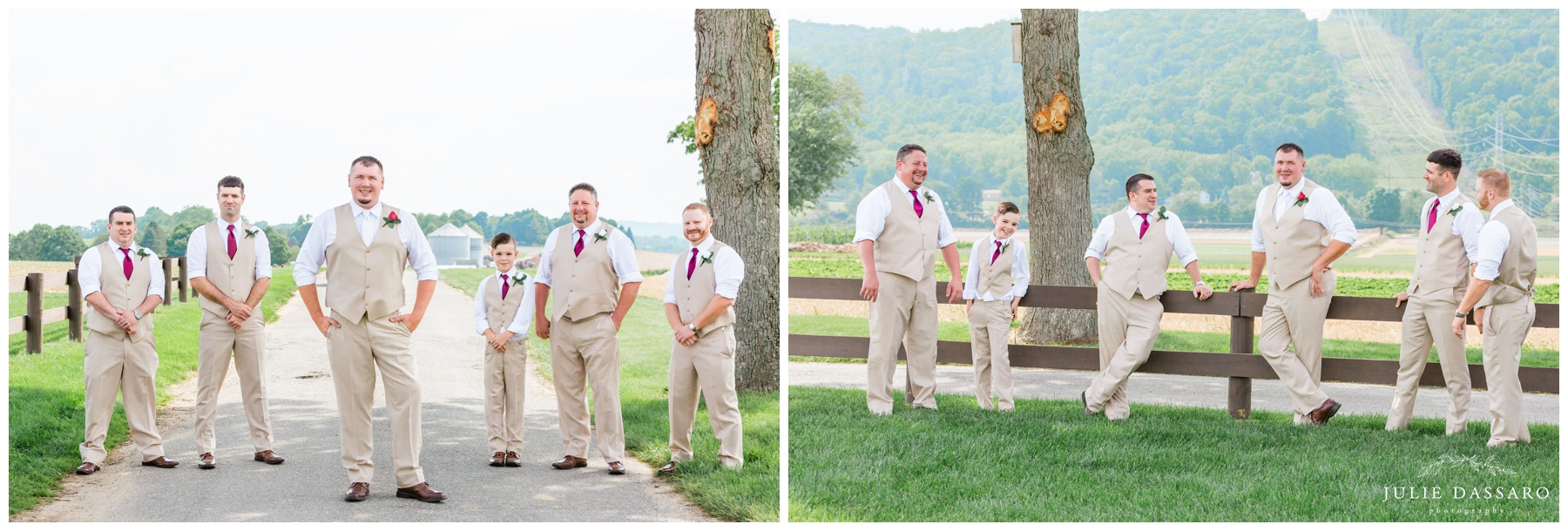 groomsmen in casual beige suits cranberry ties