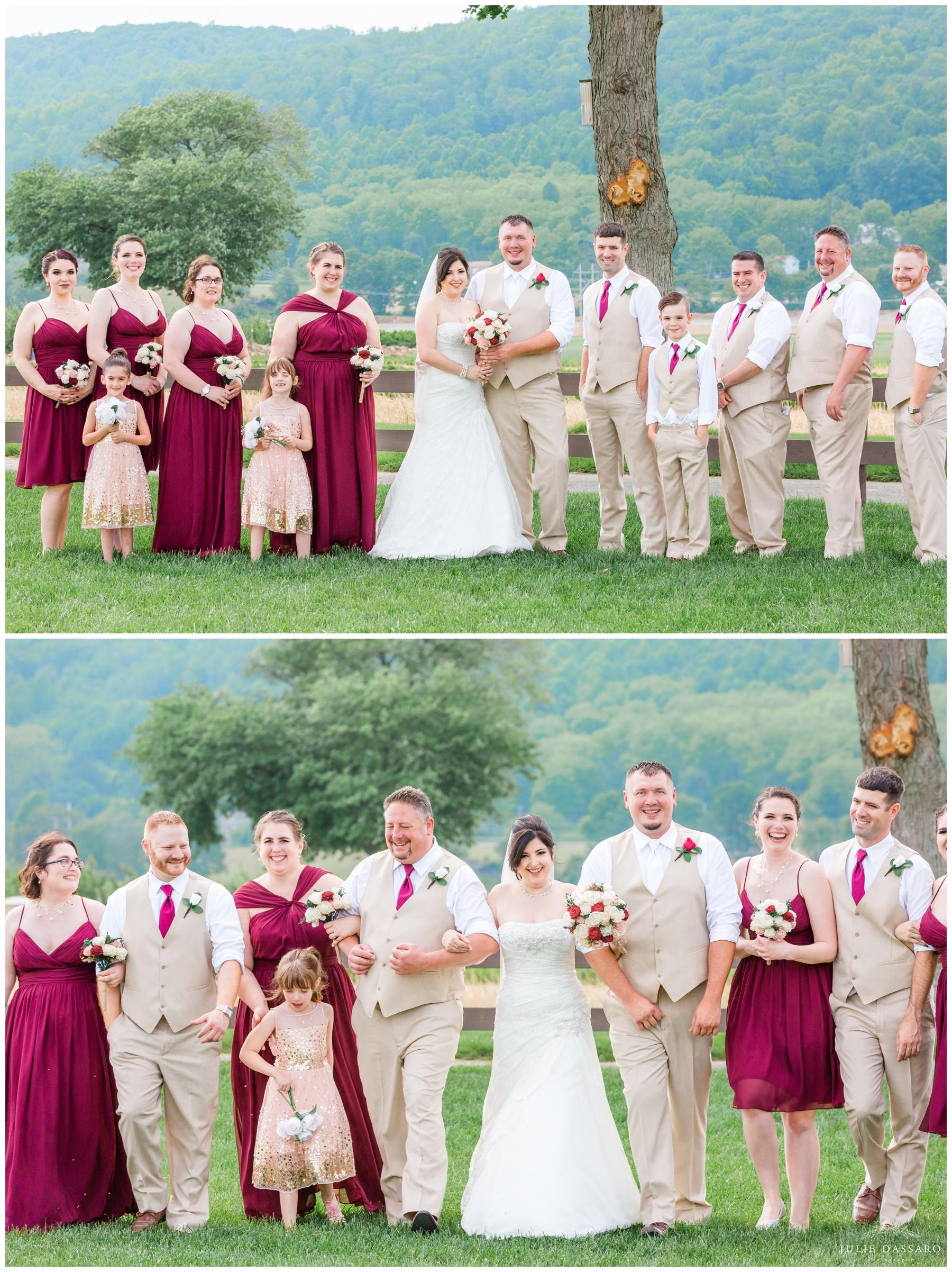 bridal party cranberry and beige color scheme