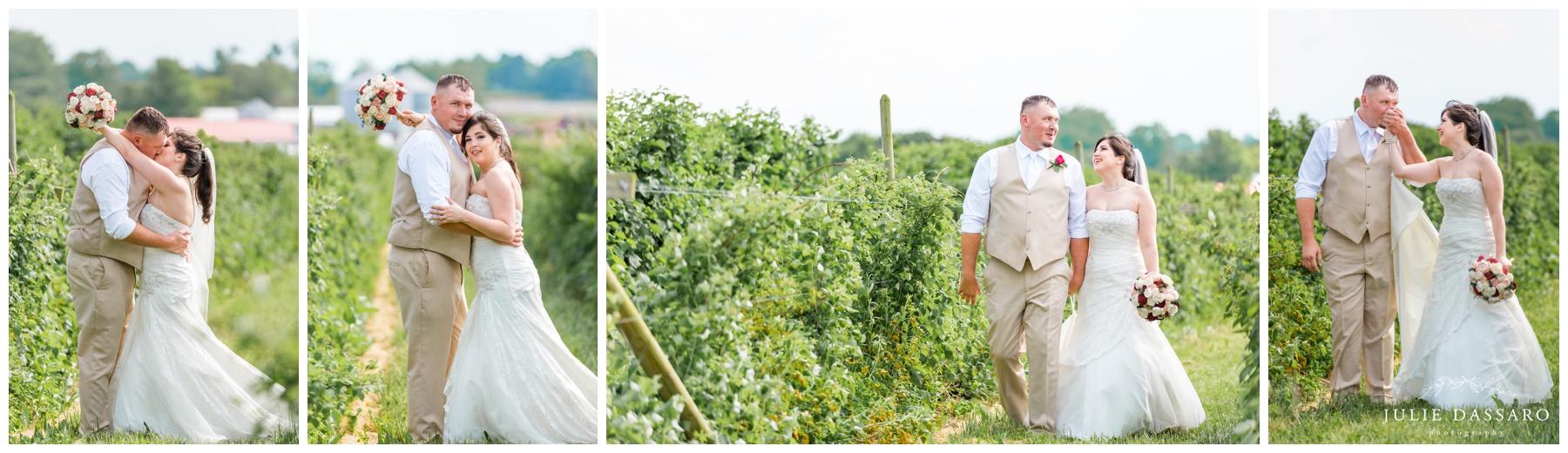 bride and groom in vineyard