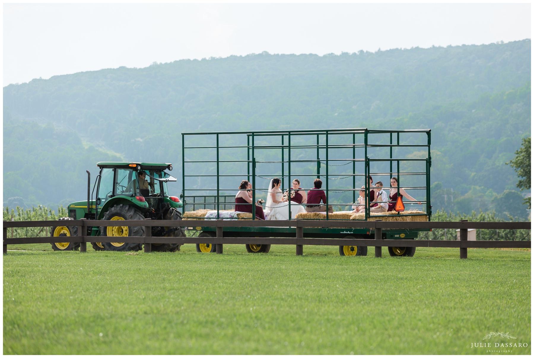 bridal party on farm tractor NJ