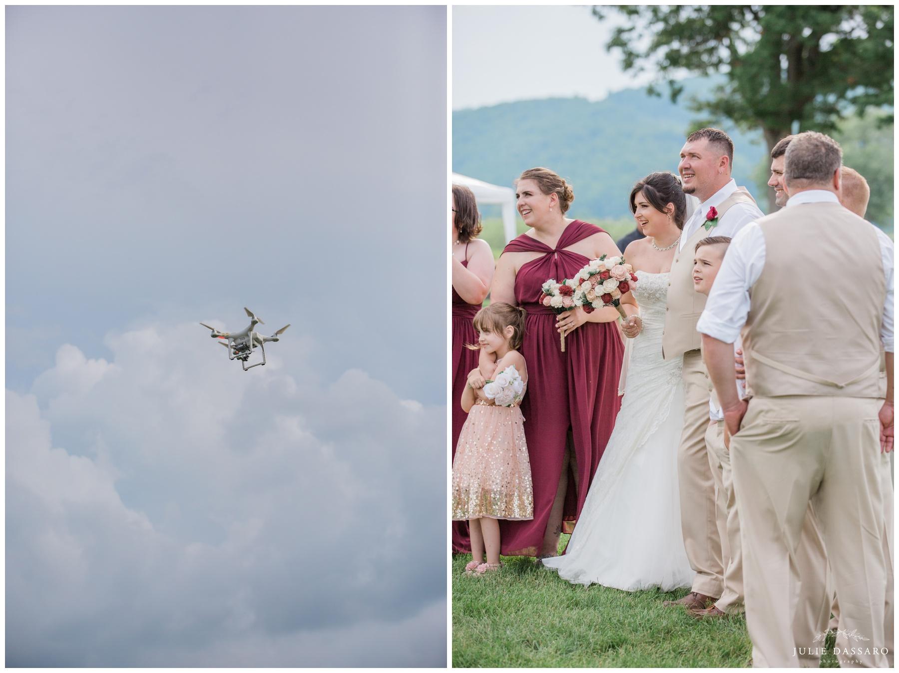 NJ drone at wedding