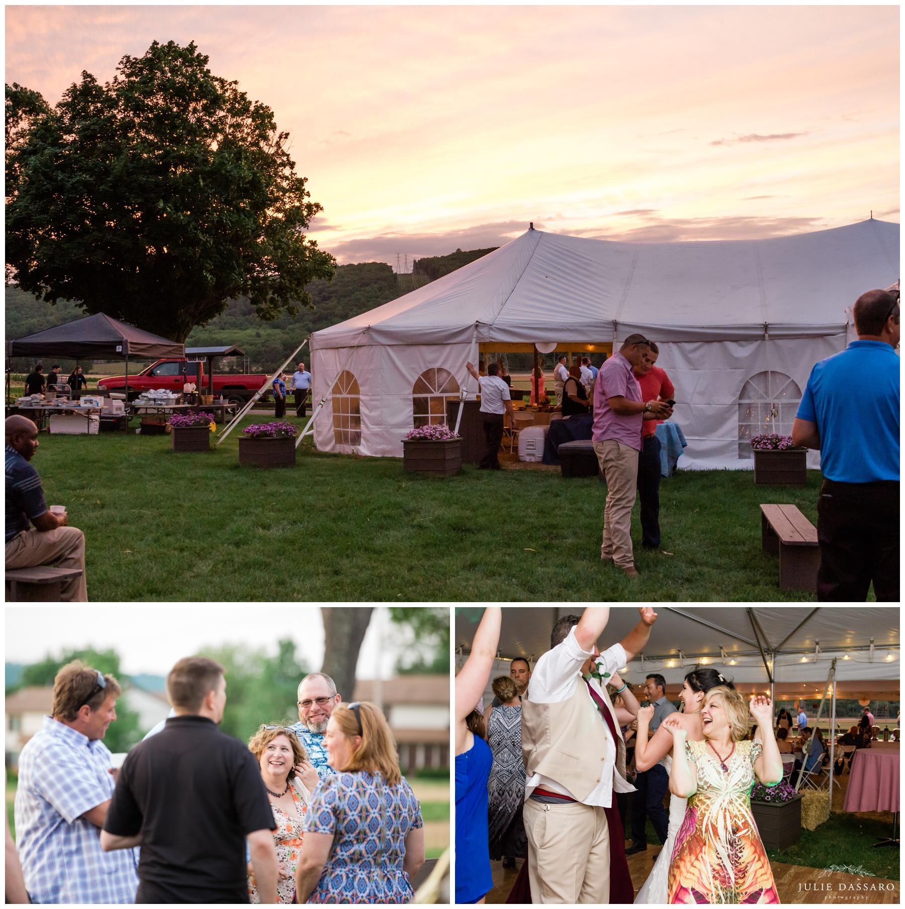 Outdoor wedding tent reception