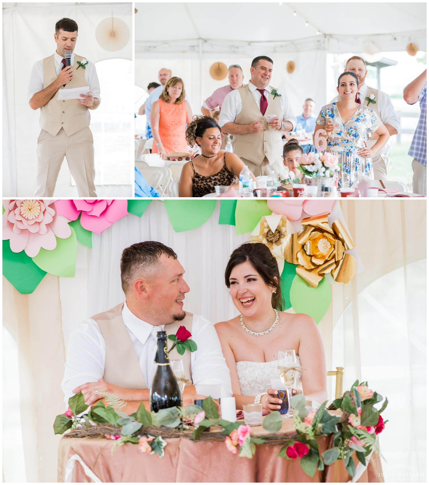 outdoor tent wedding reception toasts