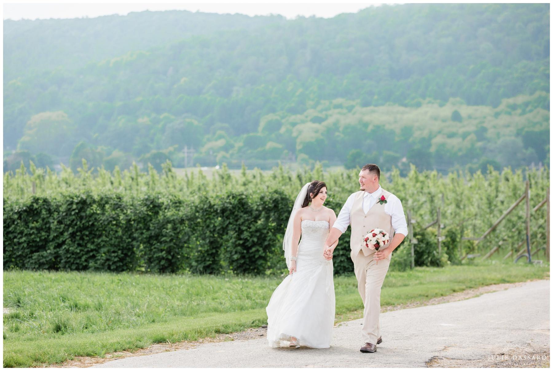 Bride and groom walking path