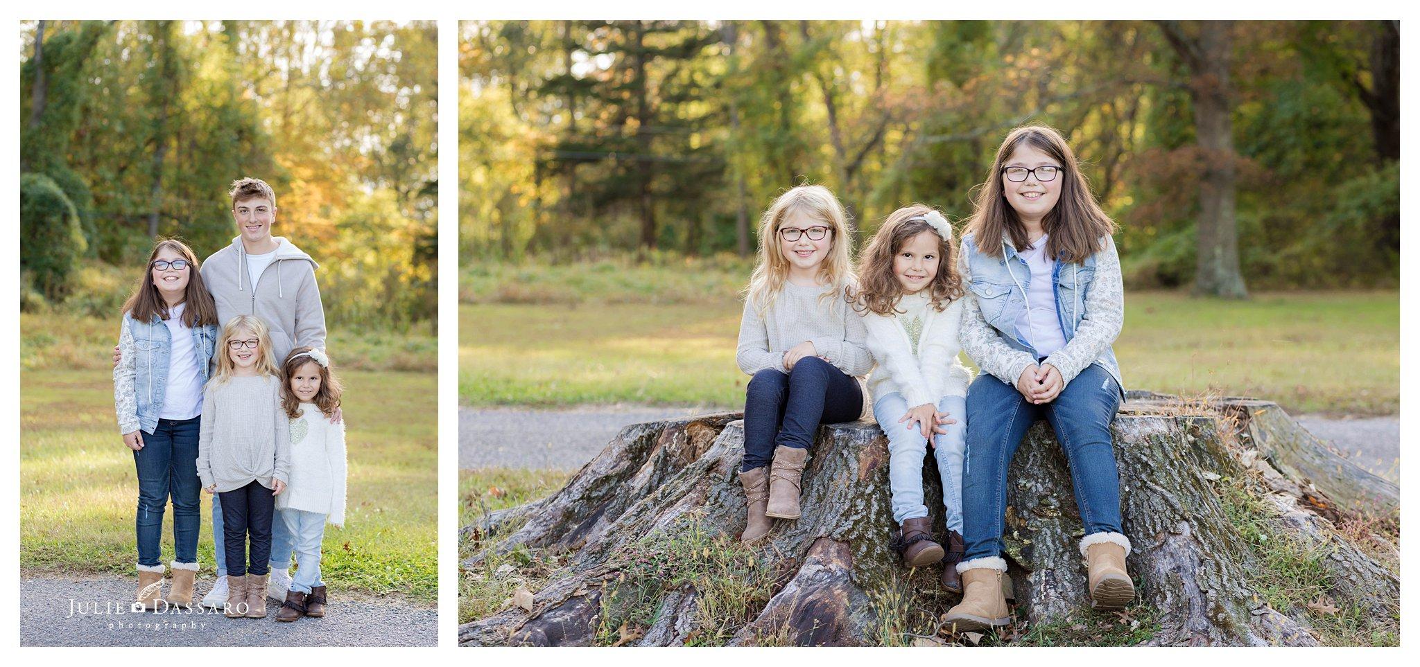 sisters portrait on tree stump