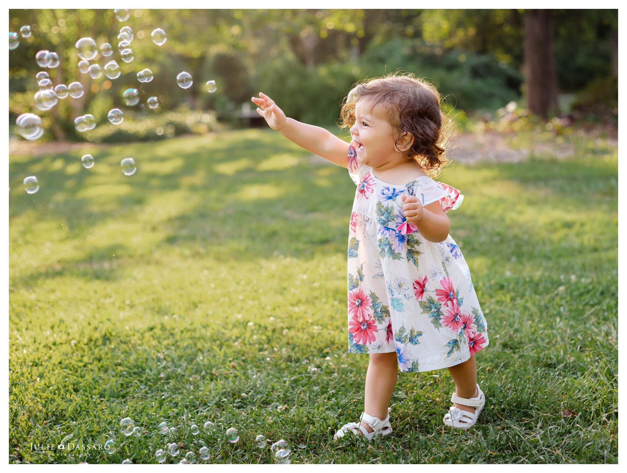 one year old chasing bubbles